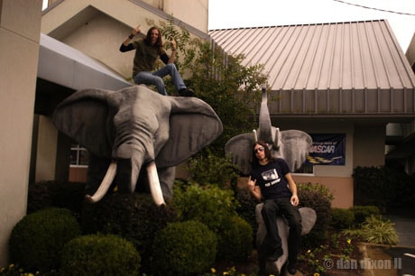 Ben and I posing with random hotel elephants [2007]